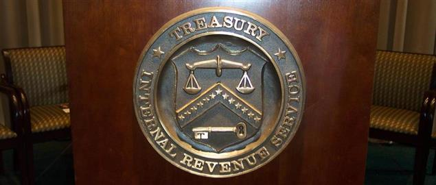 The symbol of the Department of the Treasury and the IRS